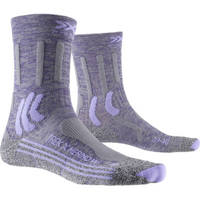 X-Socks Trek X Merino Calcetines Mujer, grey purple melange/grey melange